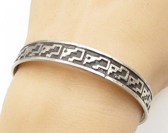 Jhg taxco mexico 925 sterling silver - tribal art 10mm bangle bracelet - b1257
