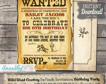 Wild West Cowboy Party Invitation - INSTANT DOWNLOAD - Partially Editable & Printable Birthday Invite by Sassaby Parties