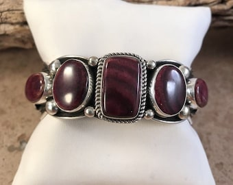 Navajo Sterling Silver And Spiny Oyster Shell Cuff B Signed By Albert Jake