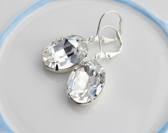 Silver Crystal clear earrings, Swarovski earrings, oval earrings, crystal earring, silver earring, bridal earrings, wedding jewelry OSC01