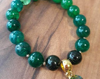 Green Agate with Swarovski crystal heart and green Sandstone stones