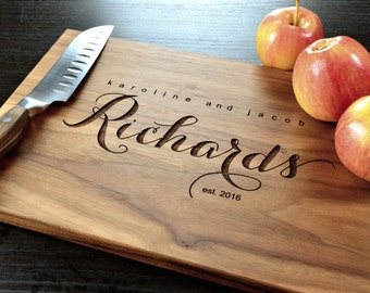 Personalized wedding gift etsy personalized cutting board custom cutting board personalized wedding gift engraved board housewarming negle Images