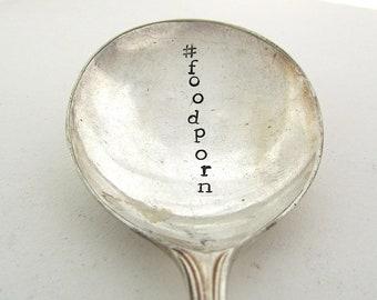 Hashtag Spoon, FoodPorn, Handstamped Vintage Dessert Spoon