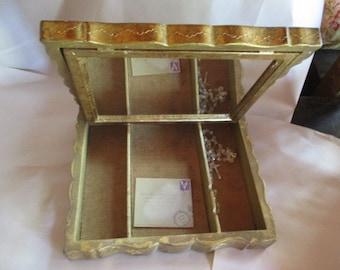 Extra large Florentine jewelry case extremely large Florentine keepsake box letter keeper photograph box trinket organizer European Chic