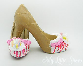 Unique Shoes ~ ice cream high heels ~ Wedding, tea party, fancy dress, Bridesmaid, Graduation, Unusual, birthday, gift for her, prom, Geek