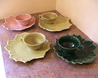 Set of Four (4) Vintage 1940s or 1950s Woodfield by Steubenville Pottery Luncheon / Snack Plates