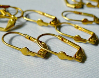 12 Vintage Raw Brass Earring Findings with Pad for Gluing (1-8-12)
