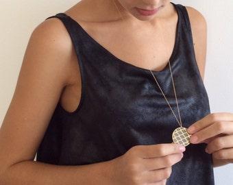 Long Gold Pendant Necklace, Gold Disc Pendant Necklace, Concrete Necklace