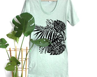 Fitted Small -Sea Foam Mint Heather Short Sleeve Tee Dress with Tropical Screenprint - Small