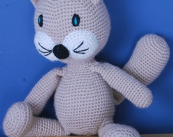 Hand crochet cat toy stuffed toy plush toy, hand made non allergic