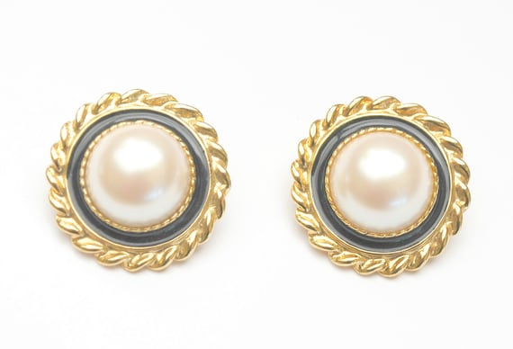 Pearl  Earrings - Signed  Park Lane - White cabochons black enamel gold trim  Bold clip on earrings