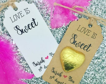 Chocolate Favour, Love Is Sweet Gift Tags, Personalised Wedding/ Party Gift, Heart