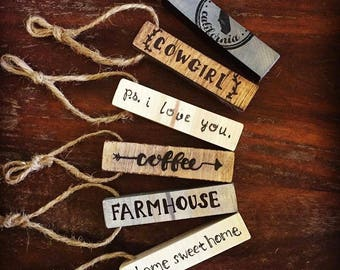 Personalized Wooden Tags - Set of 4