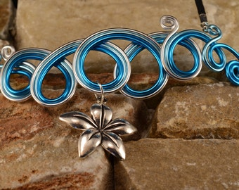 Blue necklace with Silver Flower tiara