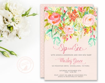 Floral Sip and See Baby Shower Invitation,   Pink  Baby Shower, Meet and Greet,  Printable Invitation,  Digital, Tea Party,  0528