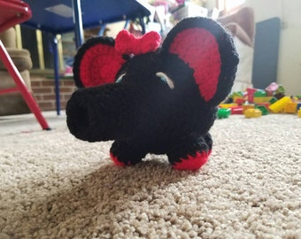 Black and Red Elephant, photo prop, baby toy, handmade, crochet, baby shower gift, birthday, home decor, amigurumi, Easter Basket,  toddler
