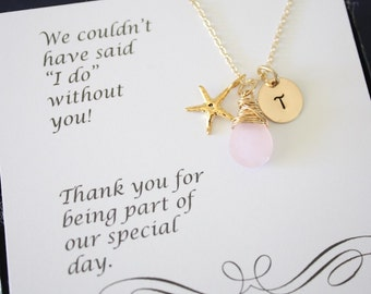 9 Bridesmaid Necklace Personalized Gold Starfish, Bridesmaid Gift, Beach Wedding, Gold, Gemstone, Initial jewelry, Thank you Card, Pink
