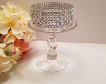 Glass Candle Holder with Rhinestones