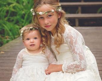 Flower Girl Dress-lvory Lace Long Sleeve Dress- Baby Flower Girl Dress- Dresses- Ivory Girls Dress-Cream Dress- Rustic Wedding Dress