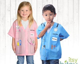Kids Doctor Costume Kids Halloween Costume Personalized Career Day Outfit Kids Dress Up Kids Doctor Uniform Halloween Costume Girl Costume