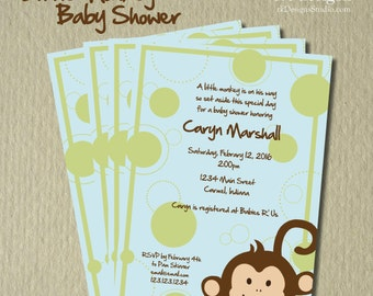 Little Monkey Baby Shower - Kids Birthday - Colors Customizable - and Envelope
