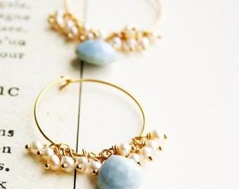 Blue Opal Earrings, Wedding Jewelry, Something Blue, Pearl Earrings