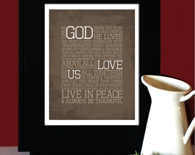 "Colossians 3:12-15, LOVE, Inspirational Quote, ""God Love Us"", Wedding Verse, Subway Art. UNFRAMED."