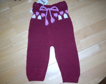 Handknit Wool Diaper Cover/Longie - Size S - burgandy