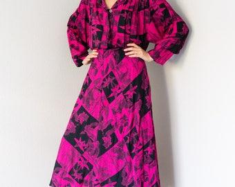Vintage 80s Pink Floral Full Length Dress Medium M