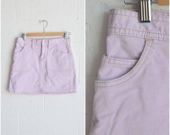 1990s purple corduroy mini skirt · retro cord skirt · pastel lilac purple high waisted skirt · vintage short skirt · small
