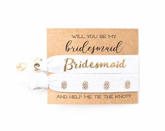 Pineapple Bridal Party Proposal Hair Tie Gift | White + Gold Pineapple Hair Ties, Bridesmaid Proposal Card Gift, Matron + Maid of Honor Card