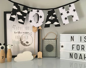 Black and White Cloud and Star Personalised Name Bunting