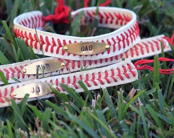Leather Baseball Stitch Bracelet • Plain / Personalized • Custom Stamped Metal real recycled baseball tie on bracelet Unisex or Youth size