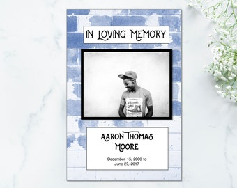 Blue Brick and Music Teen Memorial Program Template - Funeral Program for Young Person - Funeral Template Program Music- Memorial Template