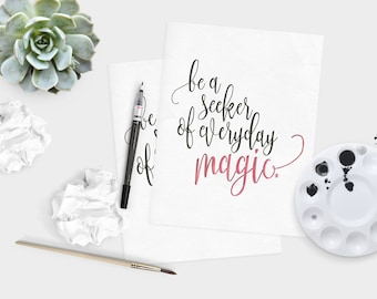 Red Seeker of magic - Magic quote - life quote - Inspirational quote - hand lettered wall art - watercolor quote  - dorm decor