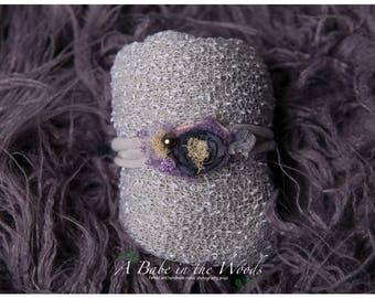 Purple and Gray Newborn wrap set