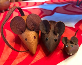 Mid century modern mice!  Three wonderful wood mice-Denmark