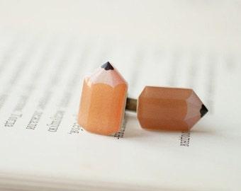 Pencil cufflinks, Orange cufflinks, Artist cufflinks, Geek cufflinks, Gift for teacher, Gift for artist, Fun accessory, Back to school gift