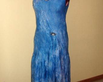"""Nunofelted l dress """" Luck"""" long blue ultramarine cobalt silk dress"""