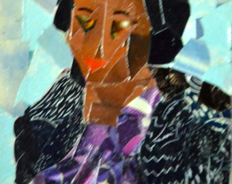 Original ACEO Collage - Lady in a Black Jacket