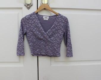 90s Criss Cross Lavender Crop Top