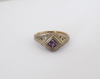 Vintage Sterling Silver Natural Amethyst Filgree Ring Size 7
