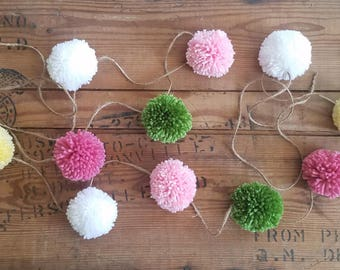Party Yarn Pom Pom Garland. Baby shower decor, handmade pom pom, princess party garland, pink pom pom, green pom pom, yellow pom pom