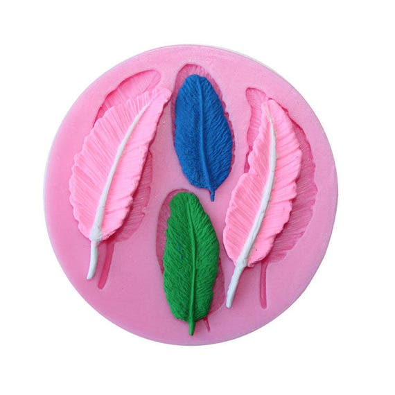 4 fallen bird feathers 3D food safe silicon push mold for fondant, cake decorating, and polymer clay