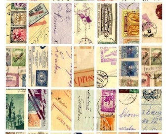 Foreign Postcards Domino No. 1 - 1x2 - Digital Collage Sheet - Instant Download