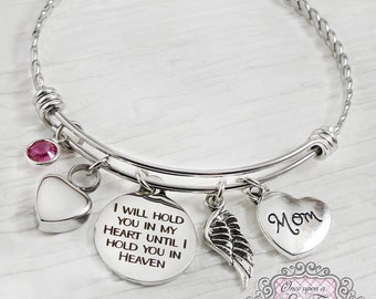 Cremation Jewelry, Urn Cremation Bracelet- Loss of Mother Bracelet, Remembrance, Dad Memorial, Loss of Daughter, Hold you in my heart, Wing