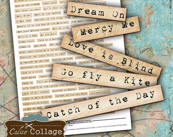 Cliche Phrases Digital Collage Sheet Altered Art Words Digital Altered Art For Journal Pages Scrapbooking Instant Download Printable