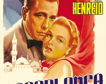 Casablanca Humphrey 1942 Bogart Ingrid Bergman cult movie poster reprint 19x12.5 inches
