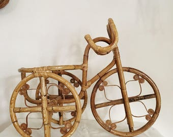 Vintage Rattan Bicycle Planter / House Plant Holder Stand