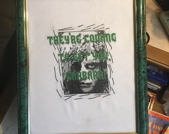 Handmade ONE OF A KIND Framed Night of the Living Dead Cross Stitch